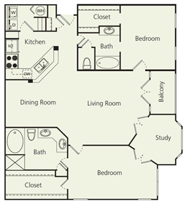 1,353 sq. ft. F floor plan