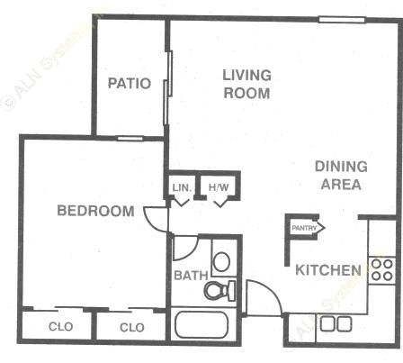 706 sq. ft. A-1 floor plan
