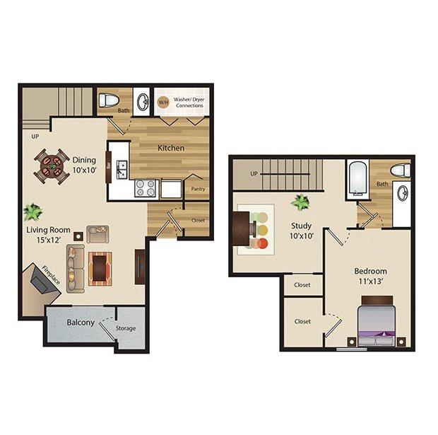 922 sq. ft. A3 floor plan