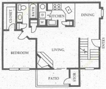 872 sq. ft. A6 floor plan