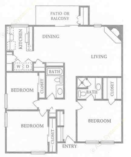 1,495 sq. ft. E floor plan