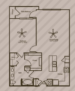 938 sq. ft. to 1,164 sq. ft. Gingko floor plan