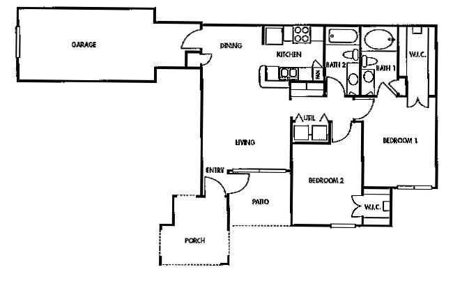 953 sq. ft. C1/60% floor plan