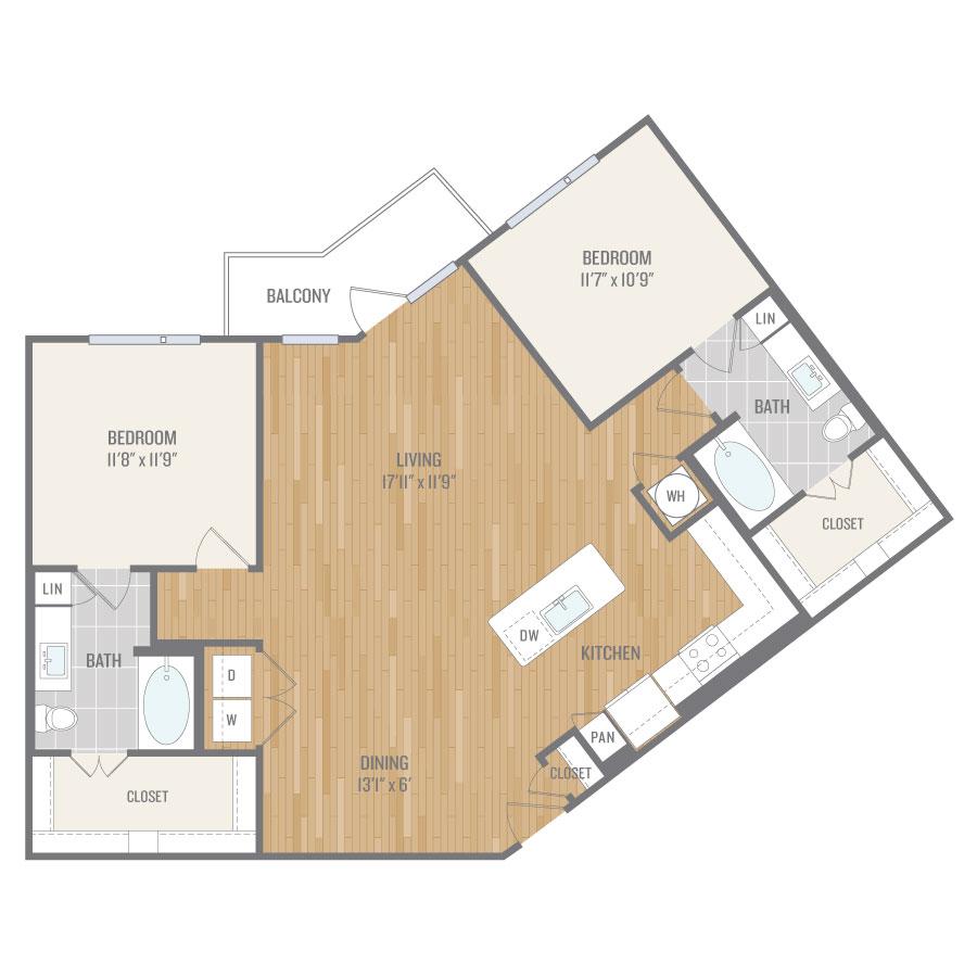 1,298 sq. ft. B5 floor plan