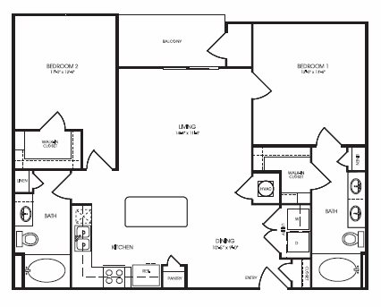 1,097 sq. ft. Sage Briar floor plan