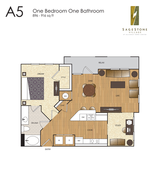 916 sq. ft. A5 floor plan