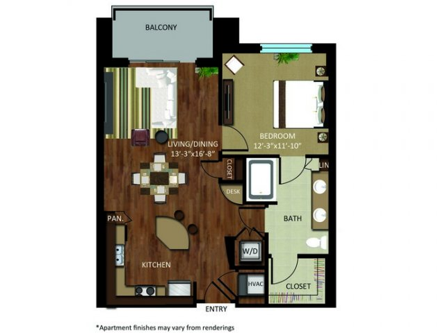 804 sq. ft. A9 floor plan