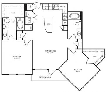 1,135 sq. ft. B11 floor plan