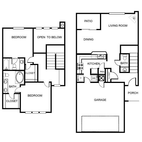 1,334 sq. ft. B2 floor plan