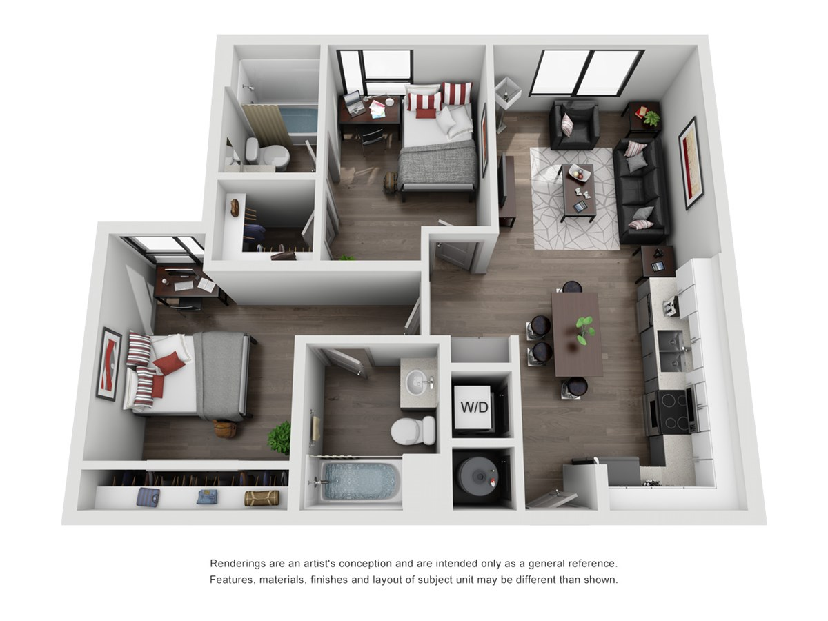 830 sq. ft. B3 floor plan