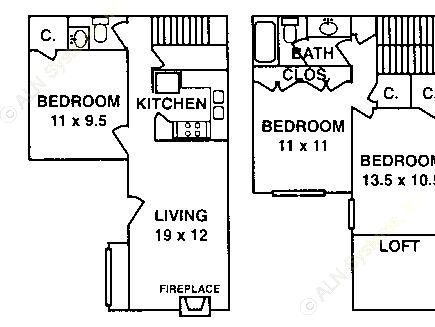 1,274 sq. ft. C-3 ABP floor plan