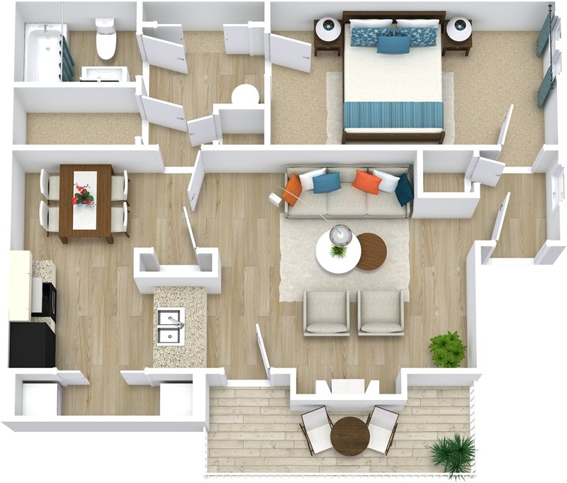 775 sq. ft. Vicotoria floor plan