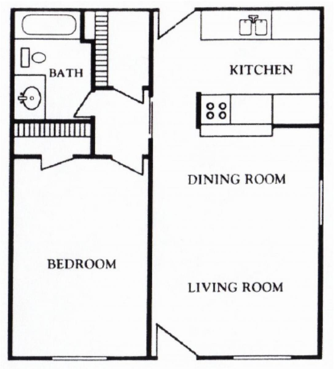622 sq. ft. A floor plan