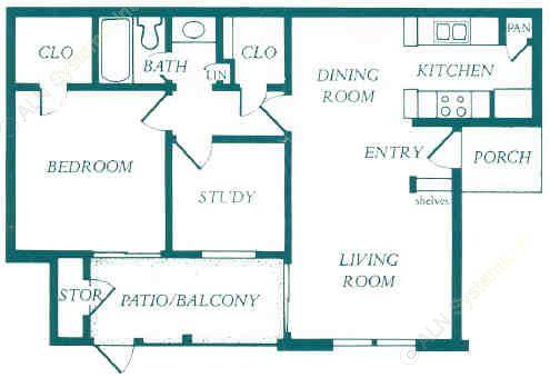 709 sq. ft. floor plan