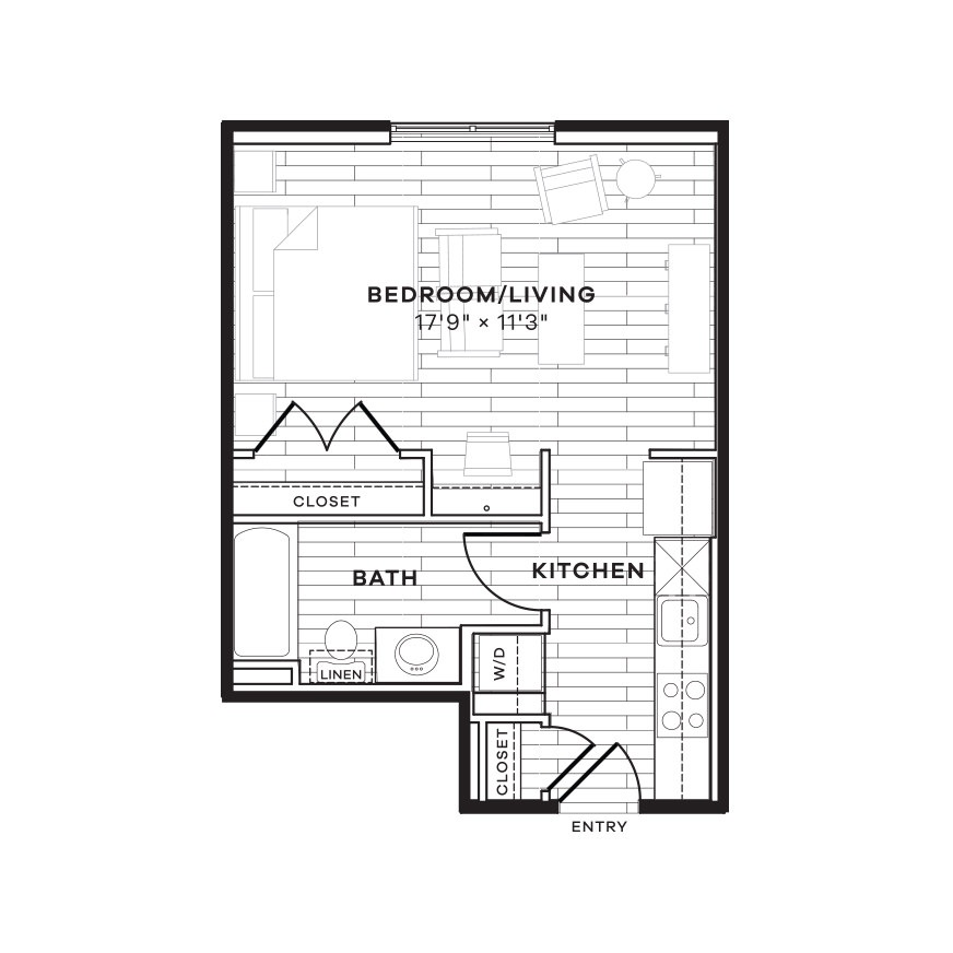 422 sq. ft. E1 floor plan