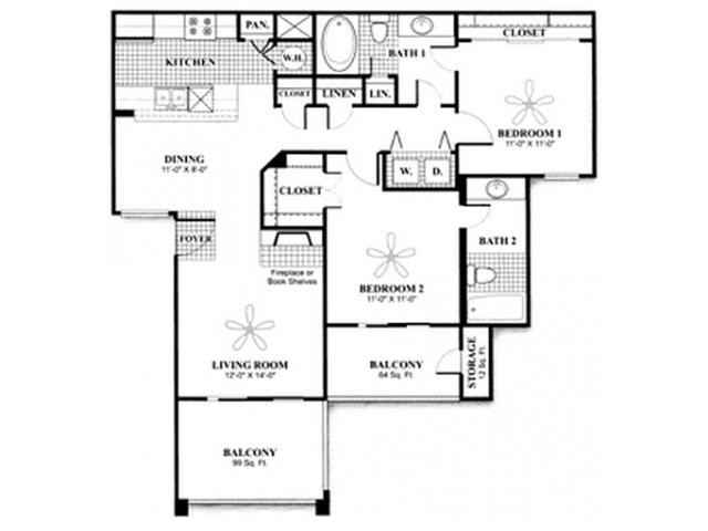 1,022 sq. ft. to 1,155 sq. ft. B1A floor plan