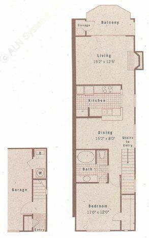 774 sq. ft. A1A floor plan