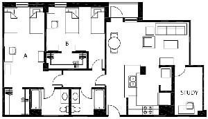 1,226 sq. ft. B10 floor plan