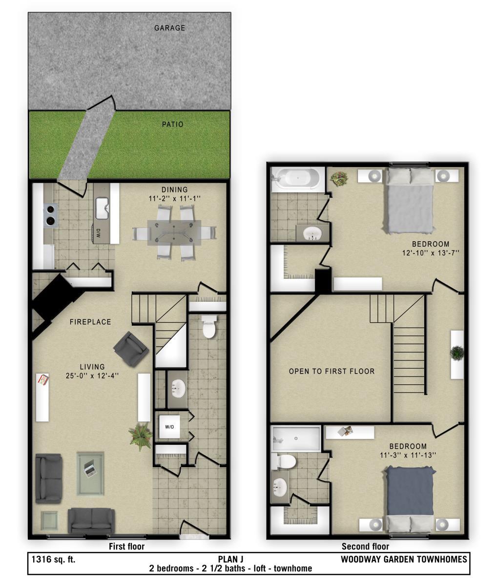 1,316 sq. ft. J floor plan