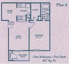 607 sq. ft. A floor plan