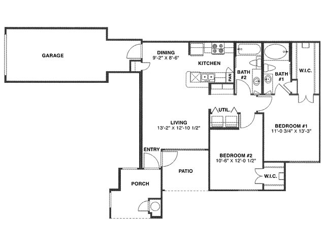953 sq. ft. D (W/2GAR)/60% floor plan