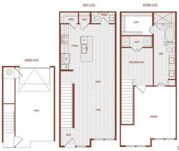 1,157 sq. ft. A2 Th floor plan