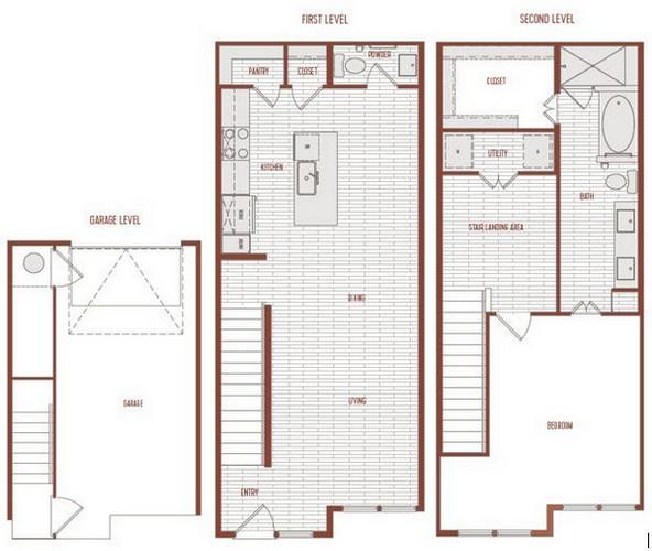 1,157 sq. ft. A2 Th floor plan