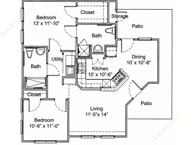 1,017 sq. ft. Mkt floor plan