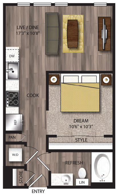 545 sq. ft. S2.1 floor plan