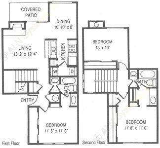1,283 sq. ft. RO floor plan
