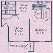 690 sq. ft. B floor plan