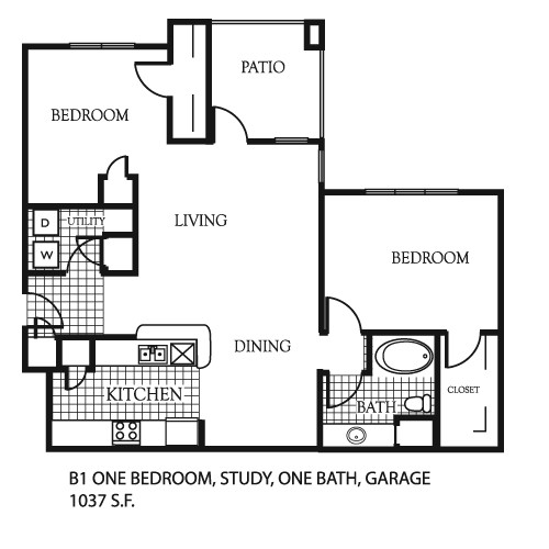 1,037 sq. ft. A6/A6G floor plan