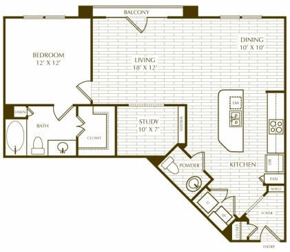 968 sq. ft. A1.5 Elmslie floor plan