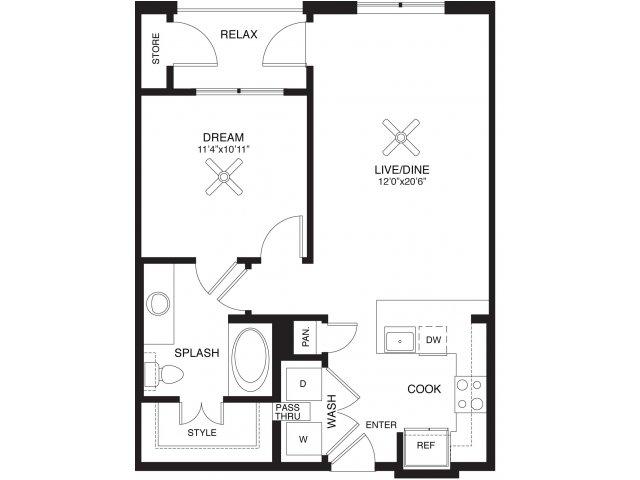 708 sq. ft. Houston floor plan
