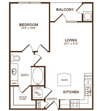 685 sq. ft. A1SB floor plan