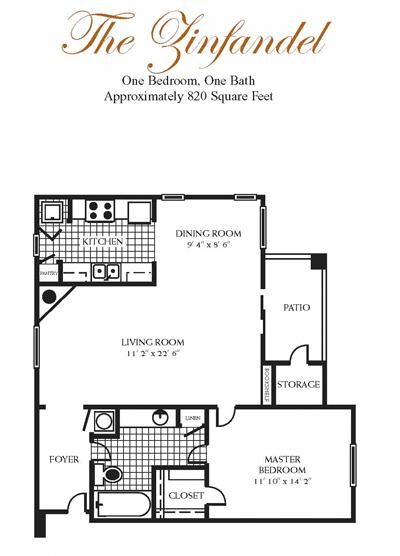 820 sq. ft. ZINFANDEL floor plan