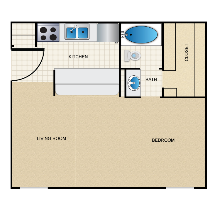 622 sq. ft. A5 floor plan