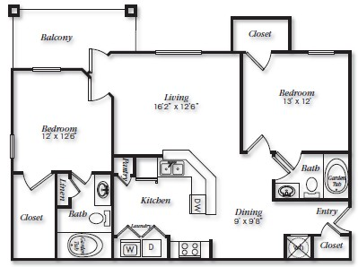 1,124 sq. ft. B4 floor plan