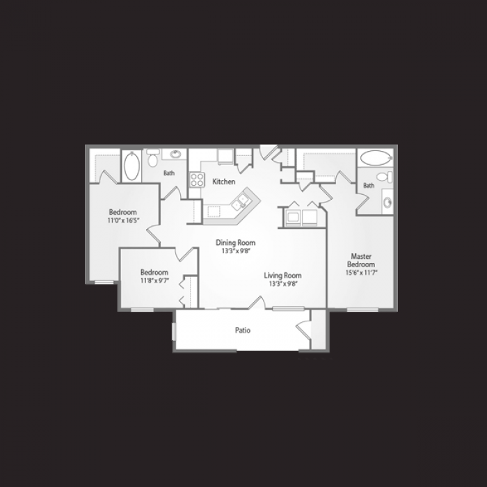1,340 sq. ft. NEWPORT floor plan