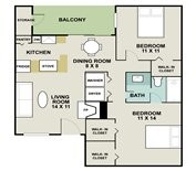 856 sq. ft. Marina floor plan