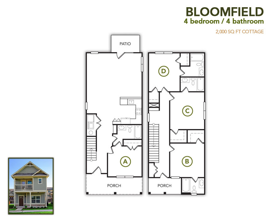 2,000 sq. ft. Bloomfield floor plan