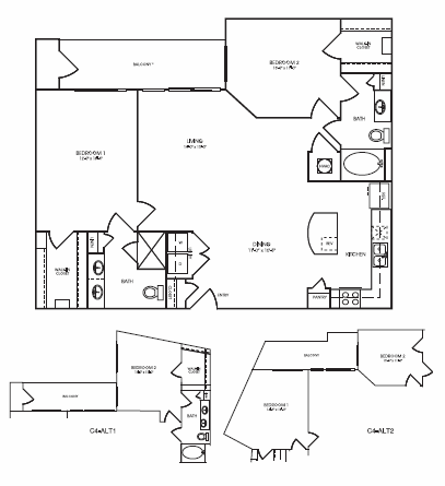1,274 sq. ft. to 1,420 sq. ft. Westleigh floor plan