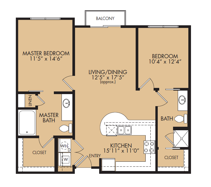969 sq. ft. B1B-Meridian floor plan