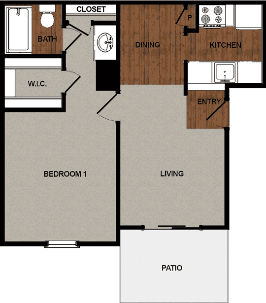 638 sq. ft. A floor plan