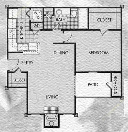 675 sq. ft. Stone Meadow floor plan