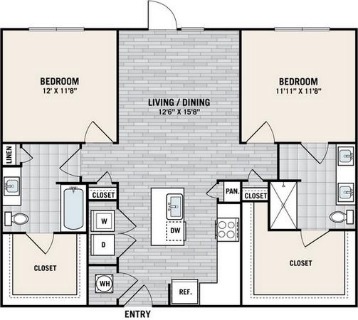 1,140 sq. ft. B5 floor plan