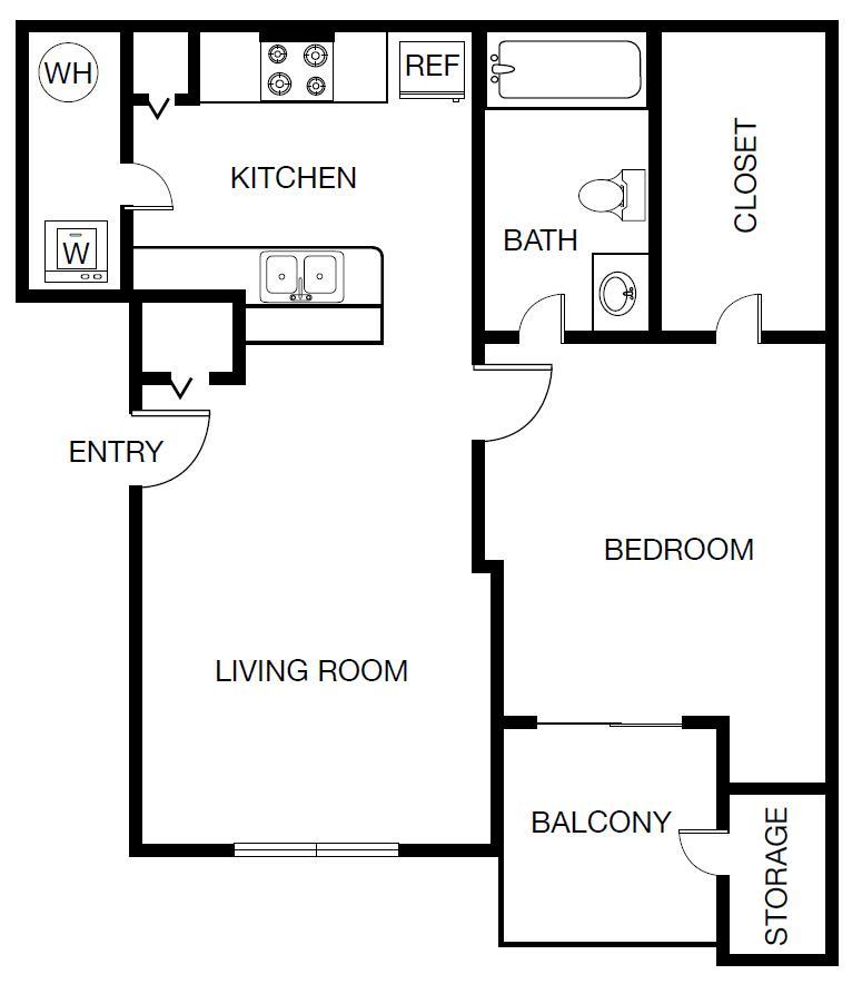 621 sq. ft. Portofino floor plan