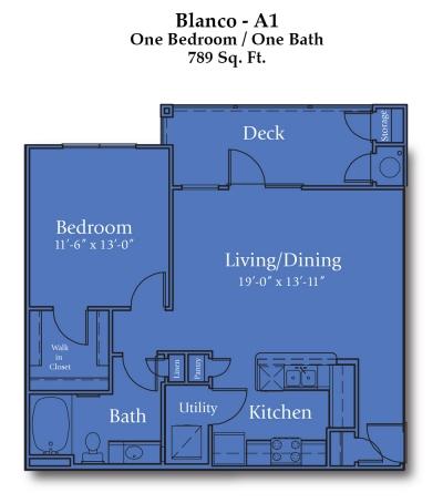 789 sq. ft. Blanco/Mkt floor plan