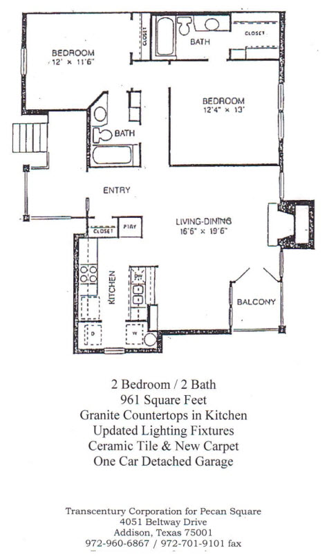961 sq. ft. Amherst floor plan