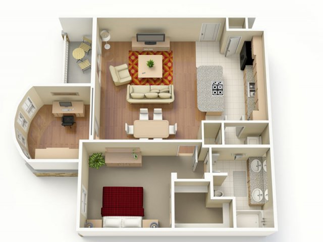 975 sq. ft. C floor plan